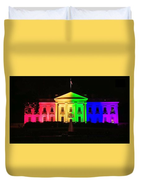 Rainbow White House Duvet Cover