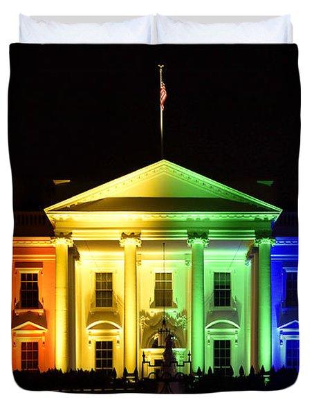 Rainbow White House  - Washington Dc Duvet Cover