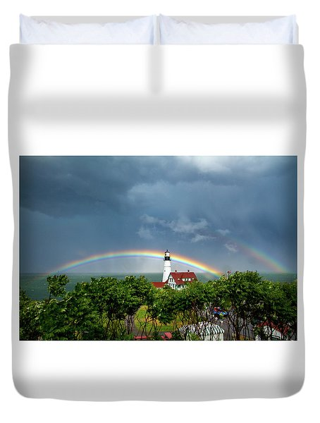 Rainbow X 2 At Portland Headlight Duvet Cover