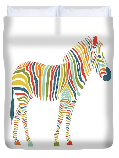 Rainbow Zebra Duvet Cover by Nicole Wilson