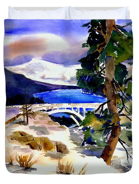 Rainbowbridge Above Donner Lake Duvet Cover