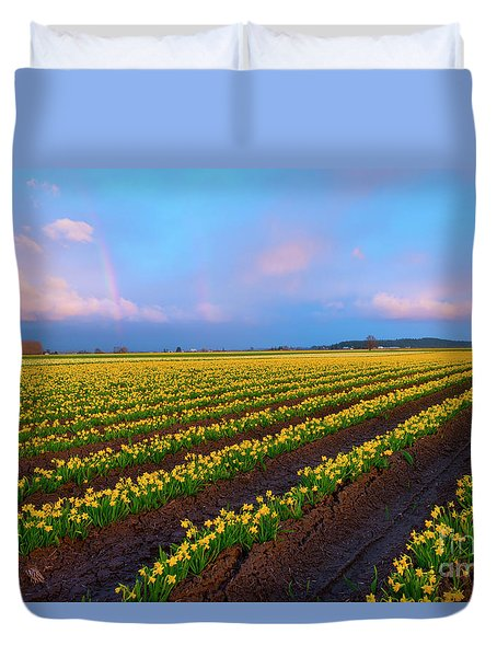 Duvet Cover featuring the photograph Rainbows, Daffodils And Sunset by Mike Dawson