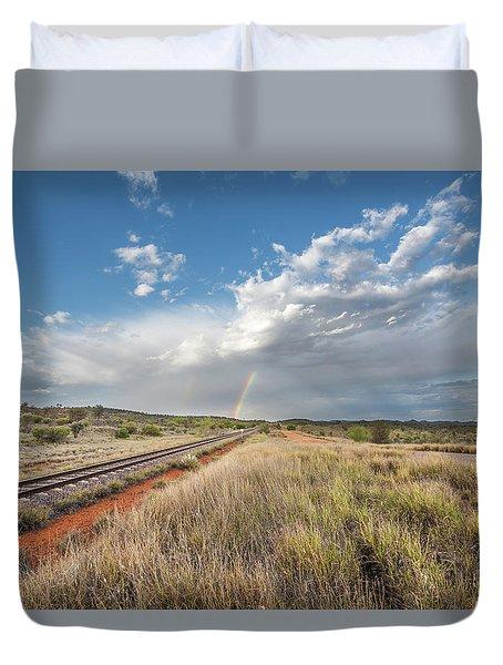 Rainbows Over Ghan Tracks Duvet Cover