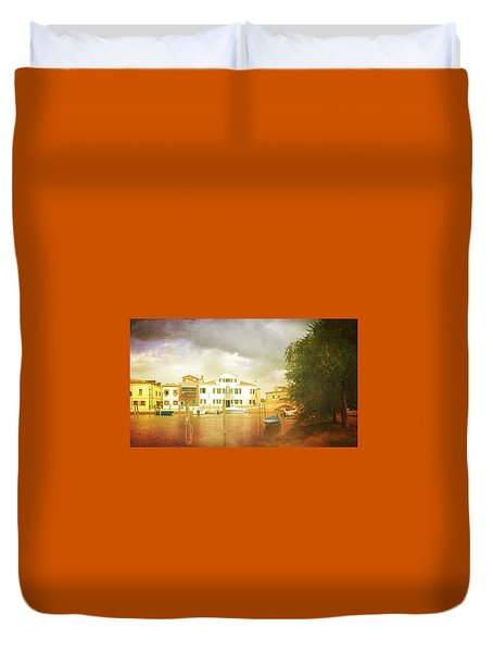 Duvet Cover featuring the photograph Raincloud Over Malamocco by Anne Kotan