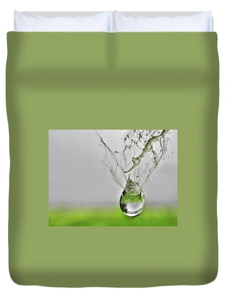 Raindrop On Web Duvet Cover