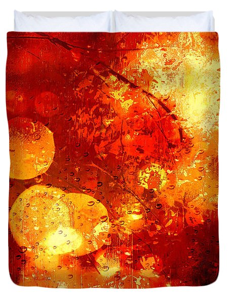 Duvet Cover featuring the digital art Raindrops And Bokeh Abstract by Fine Art By Andrew David