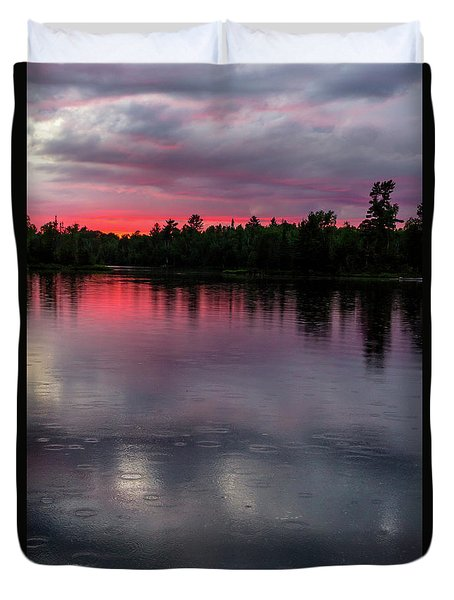 Duvet Cover featuring the photograph Raindrops At Sunset by Mary Amerman