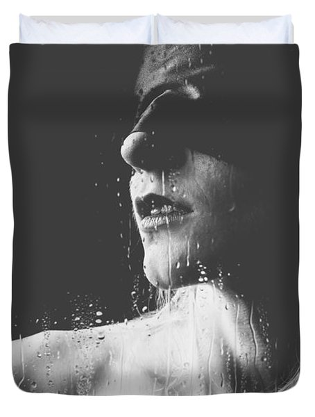 Raindrops - Blindfolded Beautiful Woman Behind A Window Duvet Cover