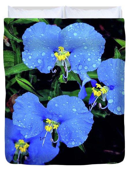 Raindrops In Blue Duvet Cover