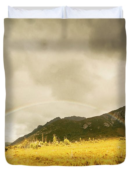 Raindrops In Rainbows Duvet Cover