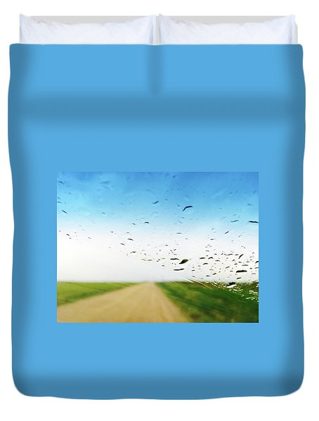 Raindrops On A Car Window Duvet Cover