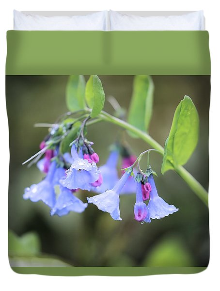 Raindrops On Blue Bells Duvet Cover