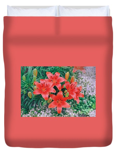 Duvet Cover featuring the photograph Raindrops On Crimson Pixie Asiatic Lily by Nancy Lee Moran