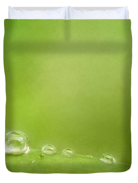 Raindrops On Green Duvet Cover