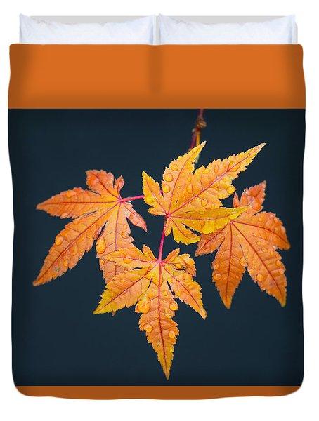 Raindrops On Japanese Maple Leaves Duvet Cover by Frank Wilson