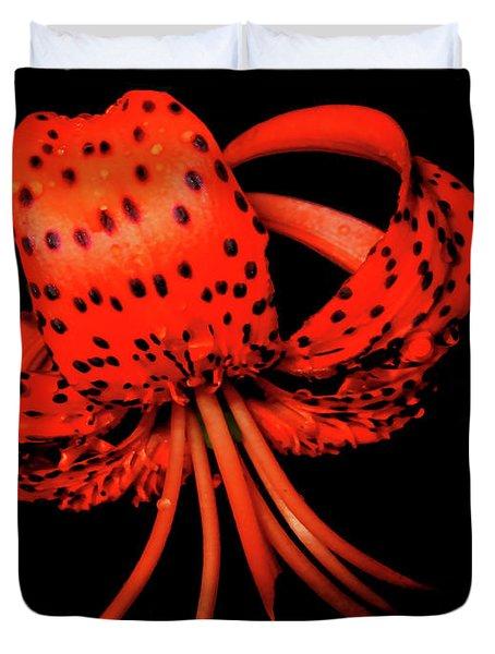 Orange Tiger Lily Flower On Black Duvet Cover