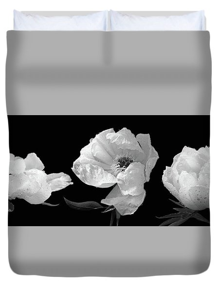 Raindrops On Peonies Black And White Panoramic Duvet Cover by Gill Billington