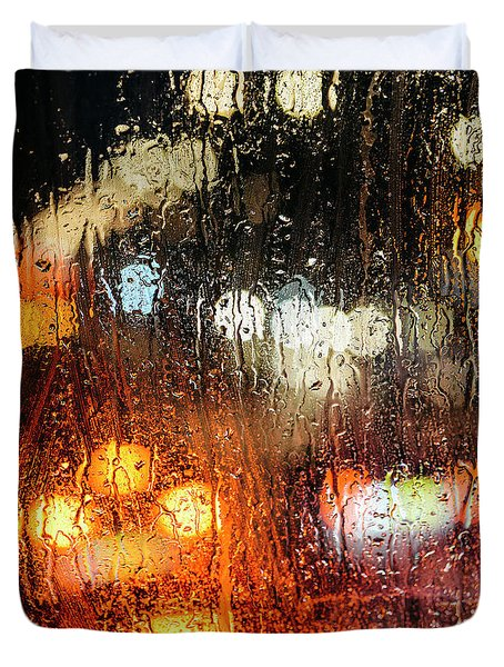 Raindrops On Street Window Duvet Cover