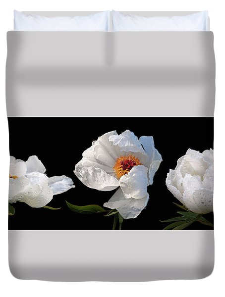 Raindrops On White Peonies Panoramic Duvet Cover by Gill Billington