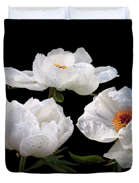 Raindrops On White Tree Peonies Duvet Cover by Gill Billington