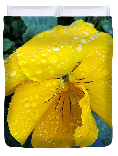 Duvet Cover featuring the photograph Raindrops On Yellow Pansy by E Faithe Lester
