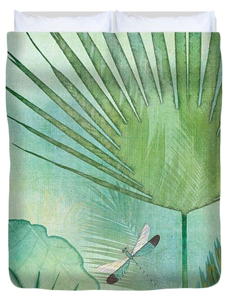Rainforest Tropical - Elephant Ear And Fan Palm Leaves W Botanical Dragonfly Duvet Cover