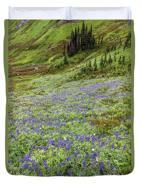 Duvet Cover featuring the photograph Rainier Alpine Wildflowers by Pierre Leclerc Photography