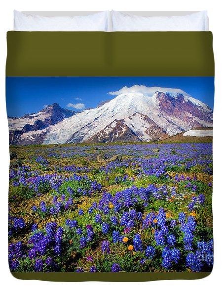 Rainier Lupines Duvet Cover by Inge Johnsson