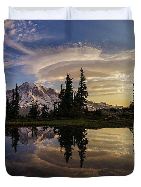 Rainier Sunrise Reflection #3 Duvet Cover