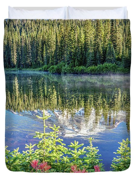 Rainier Wildflowers At Reflection Lake Duvet Cover