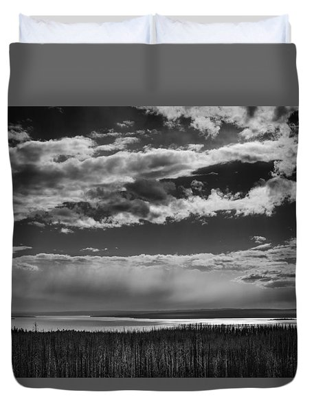 Duvet Cover featuring the photograph Raining At Yellowstone Lake by Jason Moynihan