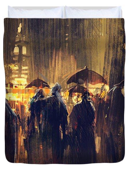 Raining Duvet Cover