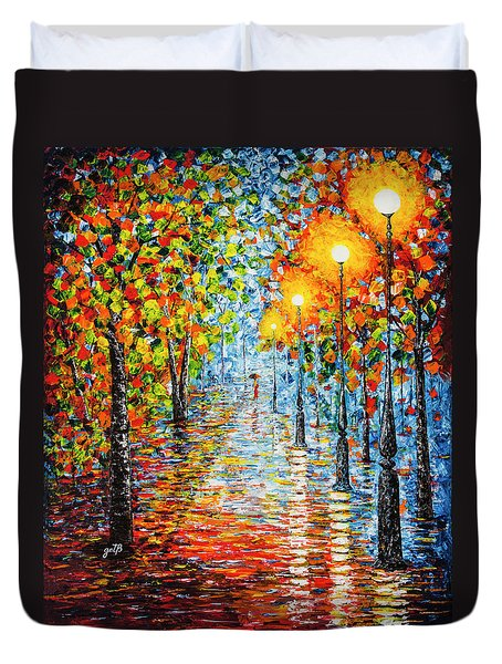 Duvet Cover featuring the painting Rainy Autumn Evening In The Park Acrylic Palette Knife Painting by Georgeta Blanaru