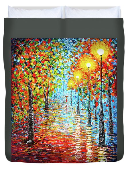 Duvet Cover featuring the painting Rainy Autumn Evening In The Park Acylic Palette Knife Painting by Georgeta Blanaru
