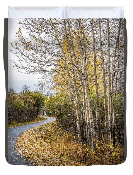 Rainy Autumn Walk Duvet Cover