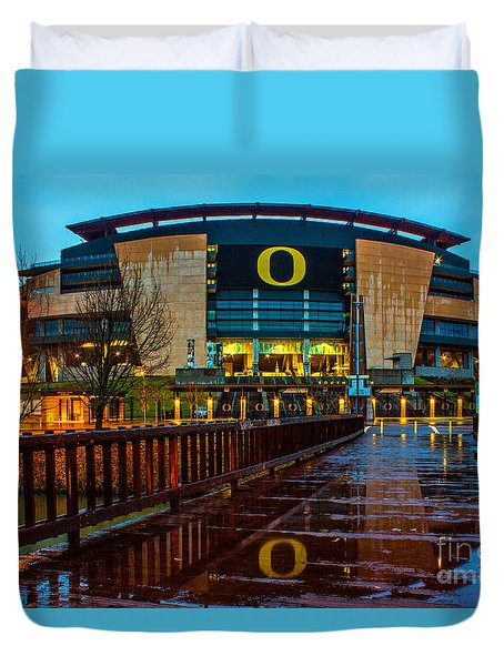 Rainy Autzen Stadium Duvet Cover