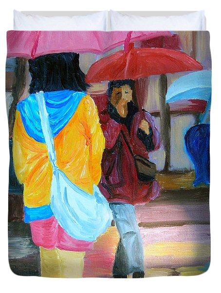 Rainy City Duvet Cover by Michael Lee