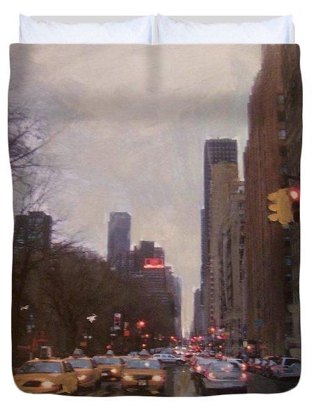 Rainy City Street Duvet Cover by Anita Burgermeister