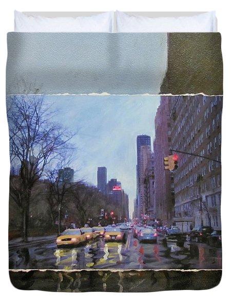 Rainy City Street Layered Duvet Cover