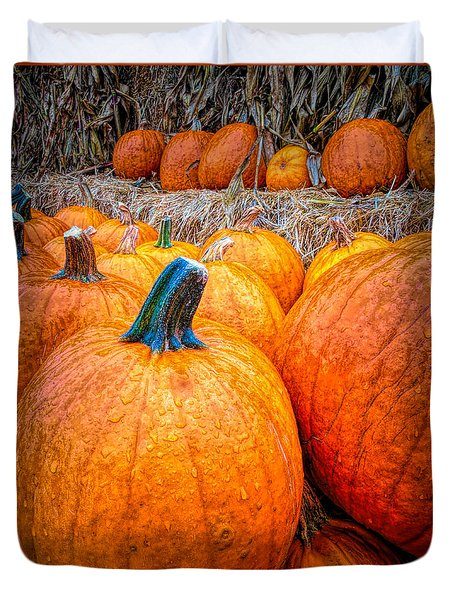 Rainy Day At The Pumpkin Patch Duvet Cover