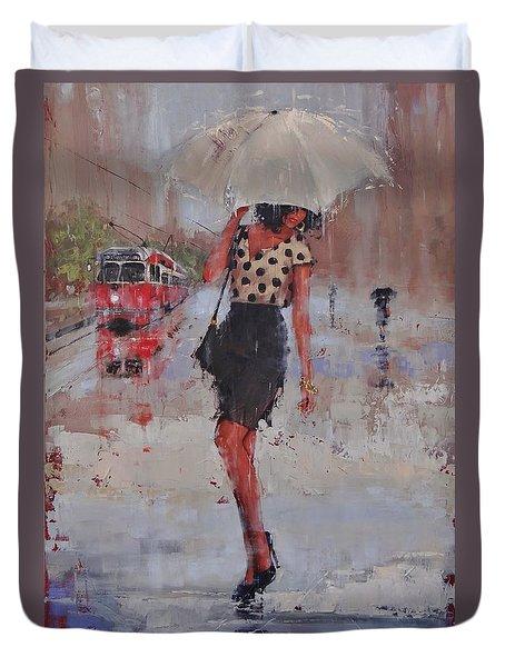 Rainy Day Blues Duvet Cover by Laura Lee Zanghetti