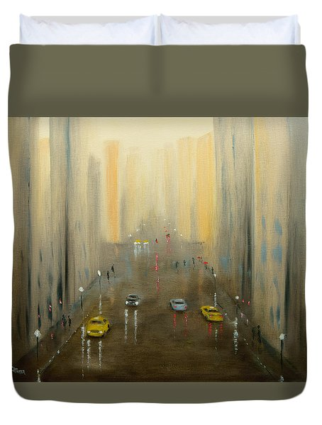 Duvet Cover featuring the painting Rainy Day Cityscape by Chris Fraser