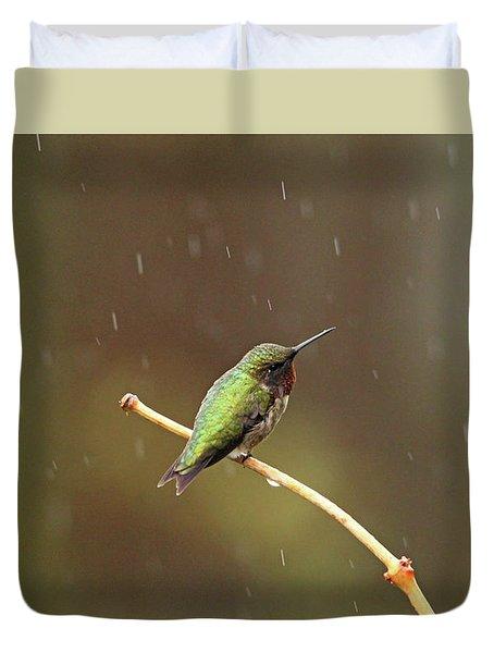 Rainy Day Hummingbird Duvet Cover