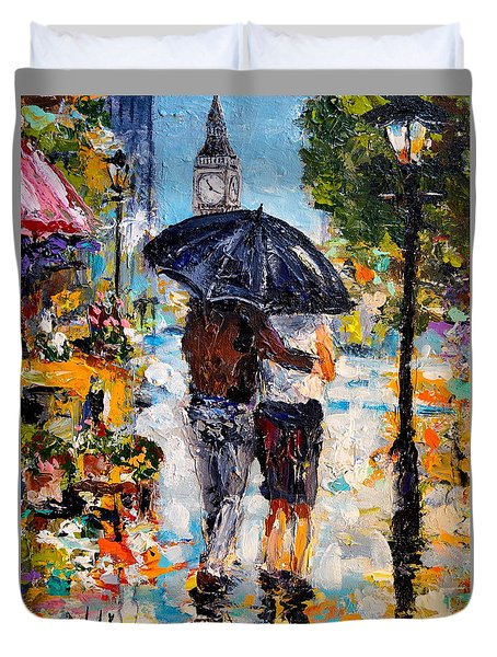 Rainy Day In Olde London Town Duvet Cover