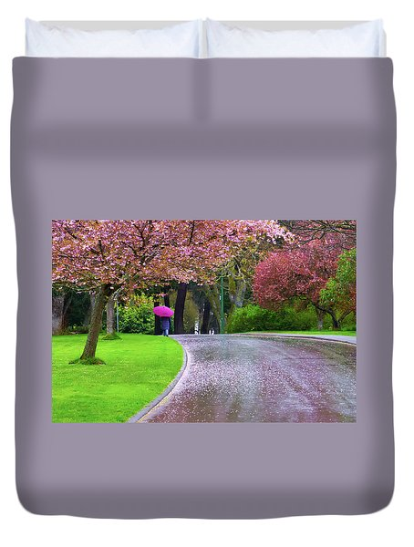 Rainy Day In The Park Duvet Cover by Keith Boone