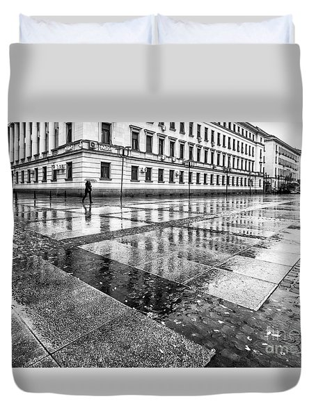 Duvet Cover featuring the photograph Rainy Day by Jivko Nakev