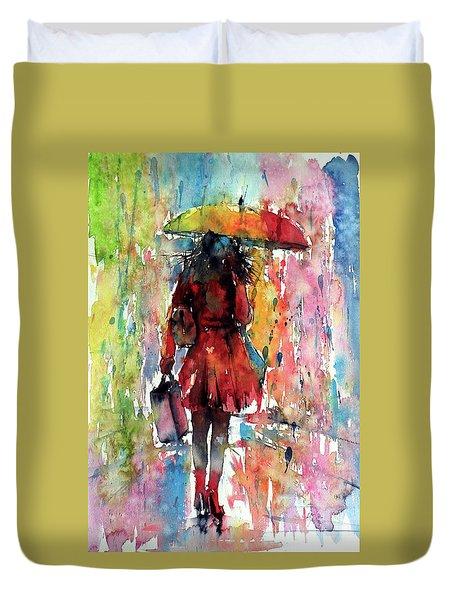Duvet Cover featuring the painting Rainy Day by Kovacs Anna Brigitta