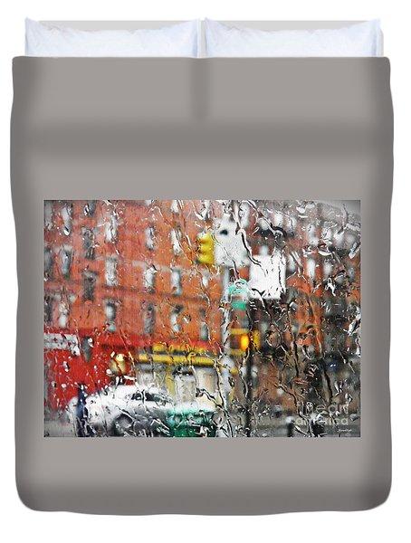 Rainy Day Nyc 2 Duvet Cover by Sarah Loft