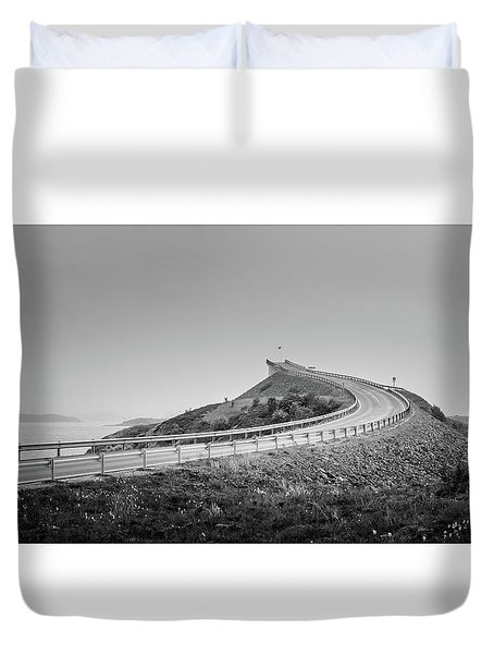 Duvet Cover featuring the photograph Rainy Day On Atlantic Road by Dmytro Korol