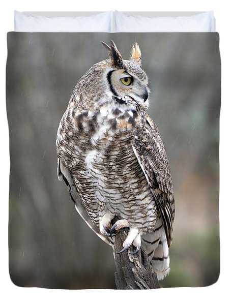 Rainy Day Owl Duvet Cover